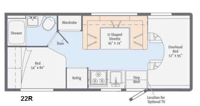 Floorplan - 2015 Winnebago Minnie Winnie 22R
