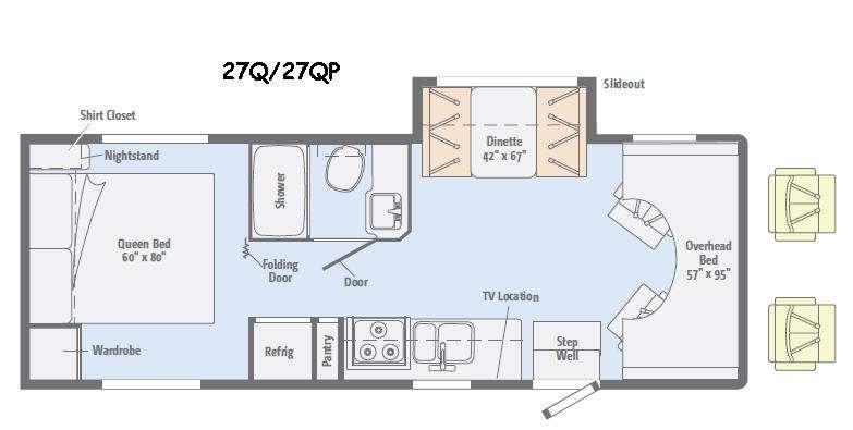 Floorplan - 2015 Winnebago Minnie Winnie 27Q