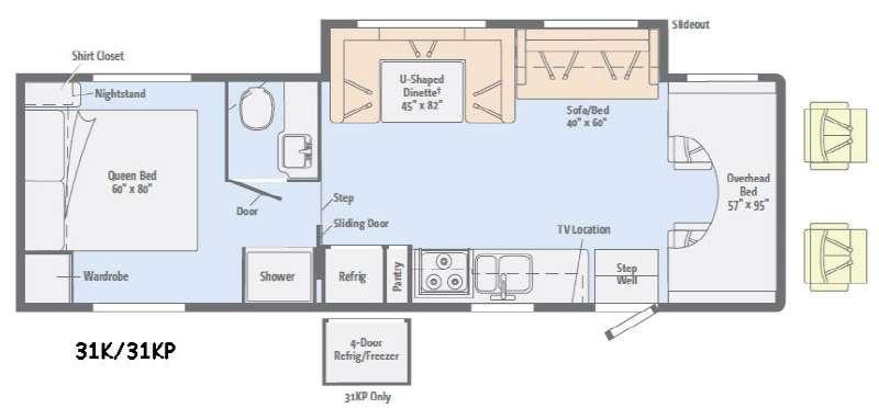 Floorplan - 2015 Winnebago Minnie Winnie 31K
