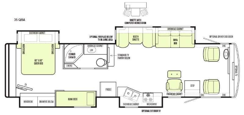 Floorplan - 2015 Tiffin Motorhomes Allegro 35 QBA