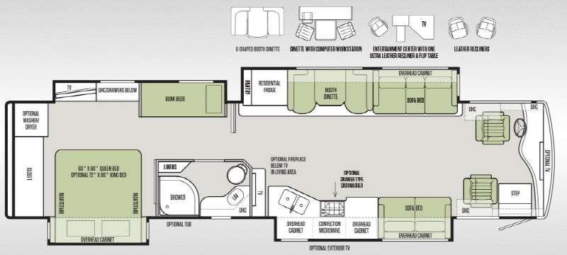 Floorplan - 2015 Tiffin Motorhomes Phaeton 40 QKH