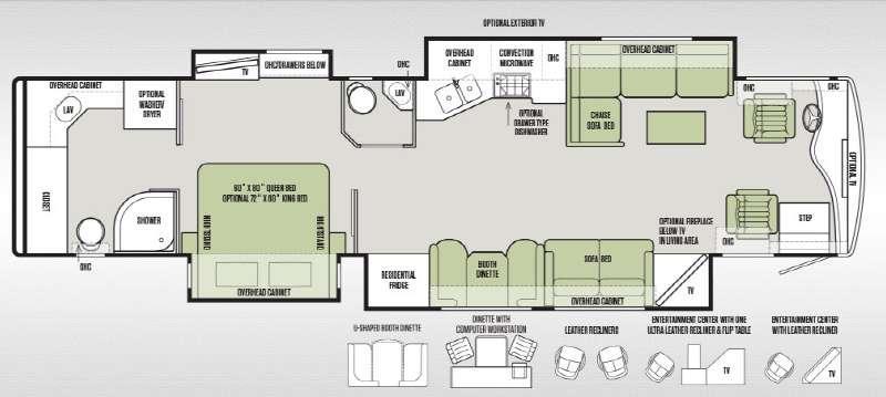 Floorplan - 2015 Tiffin Motorhomes Phaeton 42 LH