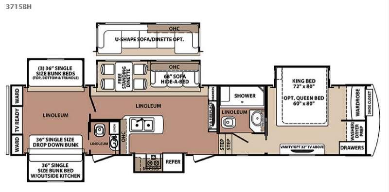 Floorplan - 2015 Forest River RV Blue Ridge 3715BH