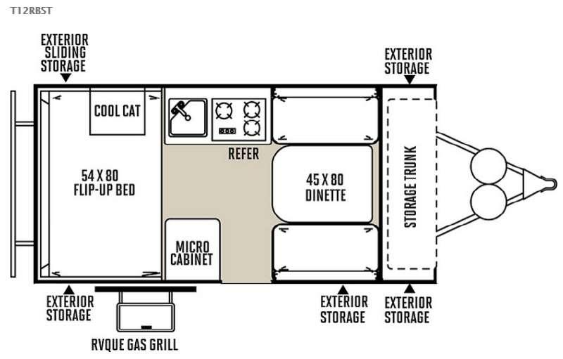 Floorplan - 2015 Forest River RV Flagstaff Hard Side T12RBST
