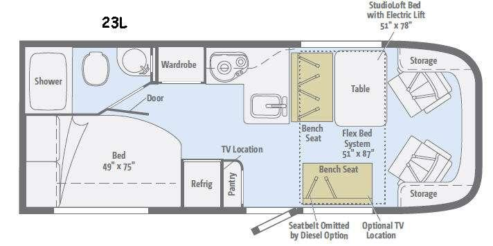 Floorplan - 2015 Winnebago Trend 23L