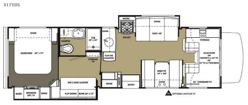 Floorplan - 2015 Forest River RV Forester 3171DS Ford