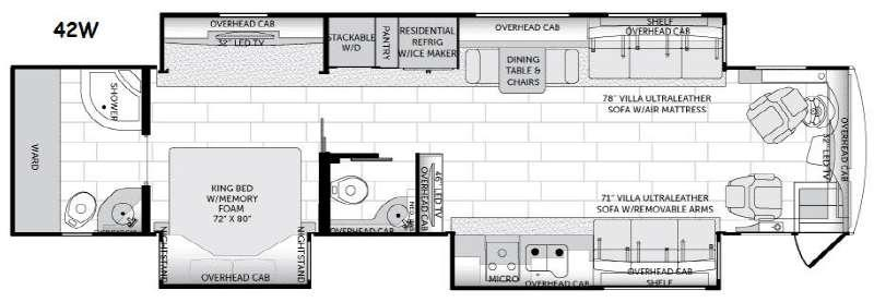 Floorplan - 2015 American Coach American Revolution 42W