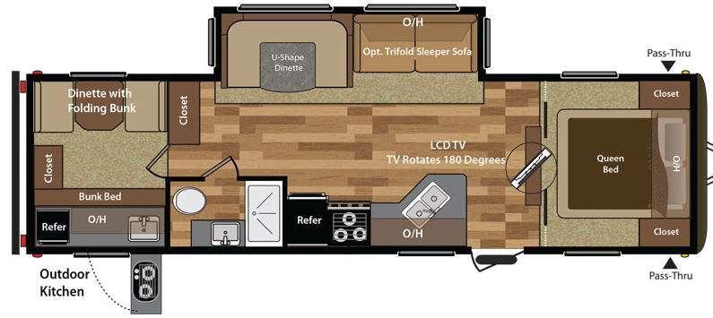 Floorplan - 2015 Keystone RV Hideout 29BKS