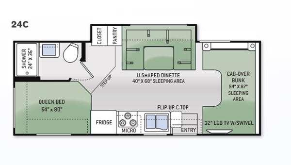 Floorplan - 2015 Thor Motor Coach Chateau 24C