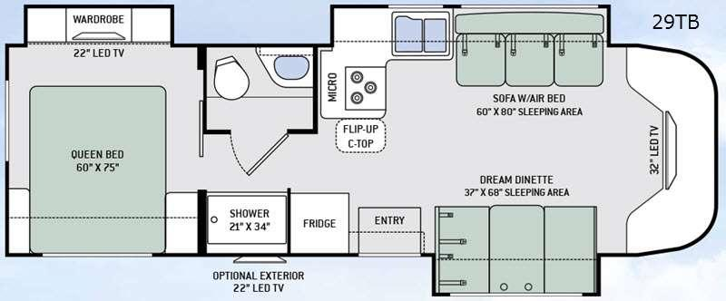 Floorplan - 2015 Thor Motor Coach Citation 29TB