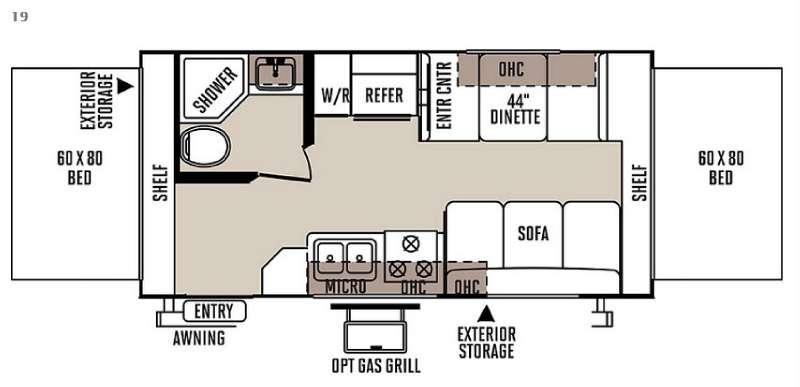 Floorplan - 2015 Forest River RV Rockwood Roo 19