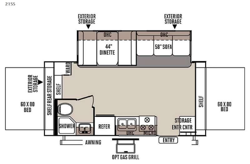 Floorplan - 2015 Forest River RV Rockwood Roo 21SS