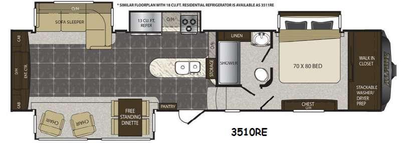 Floorplan - 2015 Keystone RV Alpine 3510RE