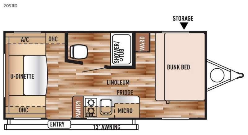 Floorplan - 2015 Forest River RV Wildwood X Lite FS 205RD