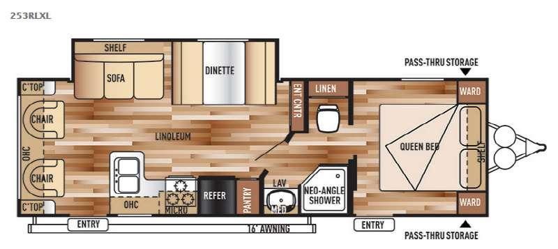 Floorplan - 2015 Forest River RV Wildwood X-Lite 253RLXL