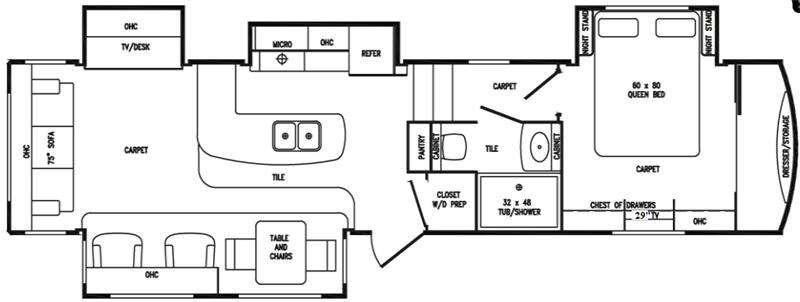 Floorplan - 2015 DRV Luxury Suites Tradition 370TKS