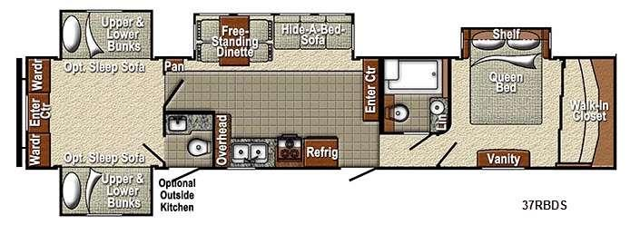 Floorplan - 2015 Yellowstone RV Sedona 37RBDS Advanced Profile