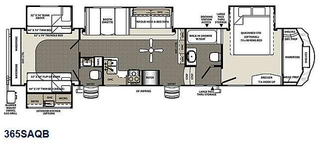 Floorplan - 2015 Forest River RV Sierra 365SAQB