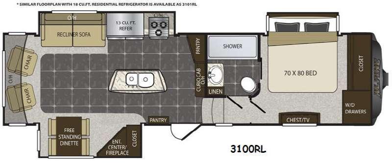 Floorplan - 2015 Keystone RV Alpine 3100RL