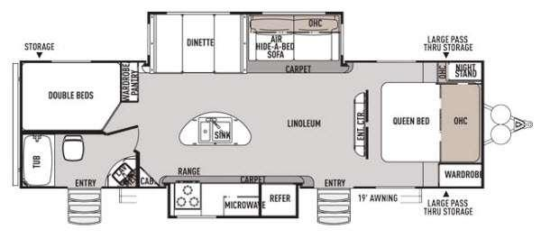 Floorplan - 2015 Forest River RV Wildwood Heritage Glen 282BHIS
