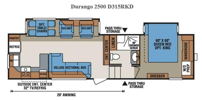 Floorplan - 2015 KZ Durango 2500 D315RKD