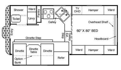 Floorplan - 2004 Northwood Arctic Fox 990 W/D  Bath