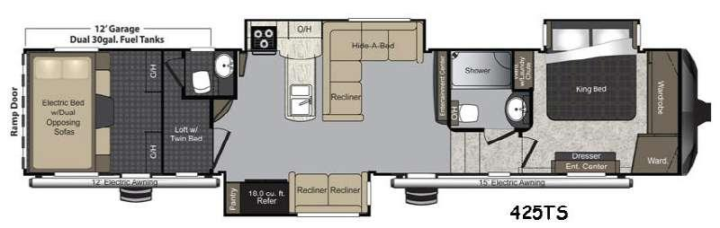 Floorplan - 2015 Keystone RV Raptor 425TS