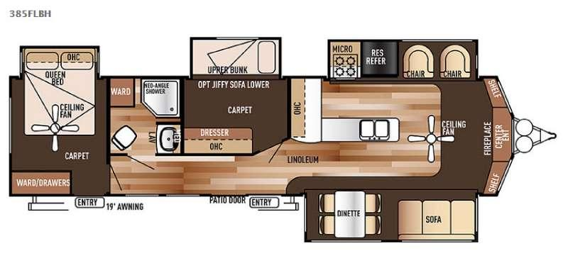 Floorplan - 2015 Forest River RV Wildwood Lodge 385FLBH