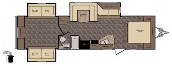 Floorplan - 2016 CrossRoads RV Longhorn LHT32DB Texas Edition