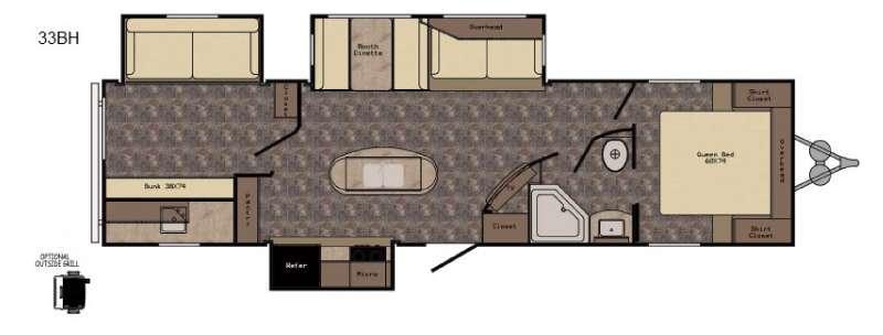 Floorplan - 2016 CrossRoads RV Longhorn LHT33BH Texas Edition