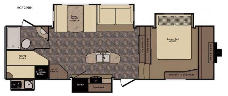 Floorplan - 2016 CrossRoads RV Hill Country HCF29BH