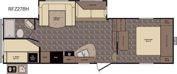 Floorplan - 2016 CrossRoads RV ReZerve RFZ27BH