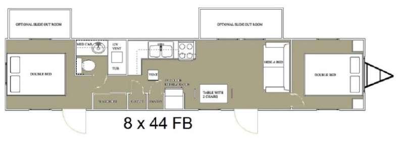 Floorplan - 2015 Allen Camper Manufacturing Idle-Time 8 x 44 Park Trailer