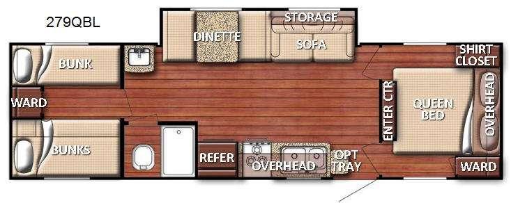 Floorplan - 2016 Gulf Stream RV Kingsport 279 QBL