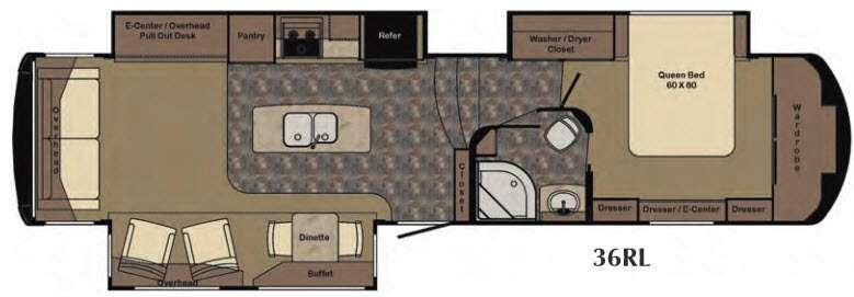 Floorplan - 2016 Redwood RV Redwood 36RL