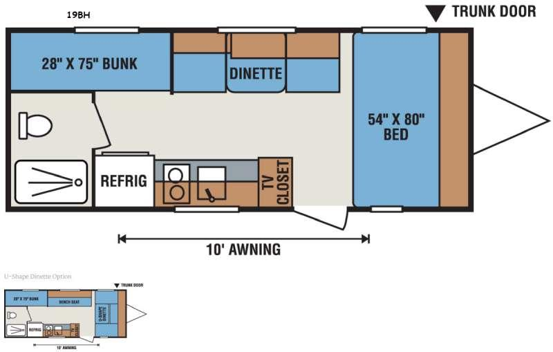 Floorplan - 2016 Sportsmen Classic 19BH Travel Trailer
