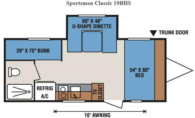 Floorplan - 2016 KZ Sportsmen Classic 19BHS