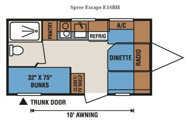 Floorplan - 2016 KZ Spree Escape E16BH