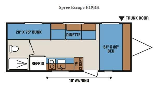 Floorplan - 2016 KZ Spree Escape E19BH