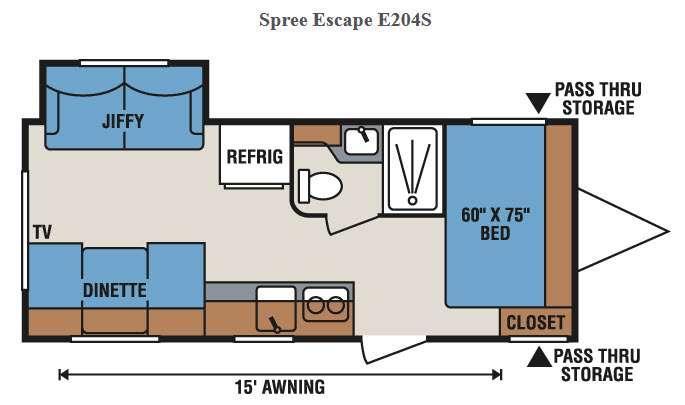 Floorplan - 2016 KZ Spree Escape E204S