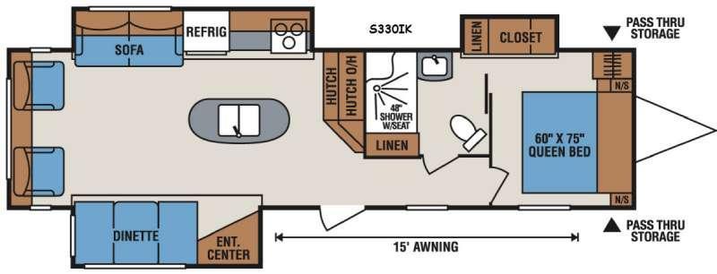 Floorplan - 2016 KZ Sportsmen S330IK