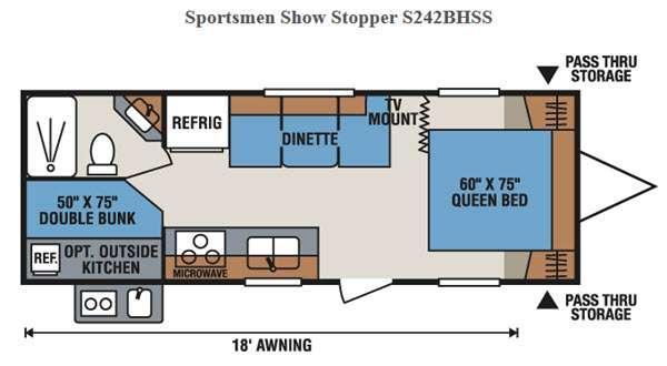 Floorplan - 2016 KZ Sportsmen Show Stopper S242BHSS