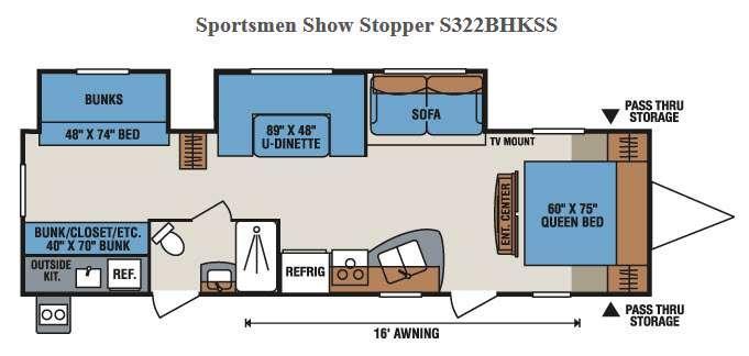 Floorplan - 2016 KZ Sportsmen Show Stopper S322BHKSS
