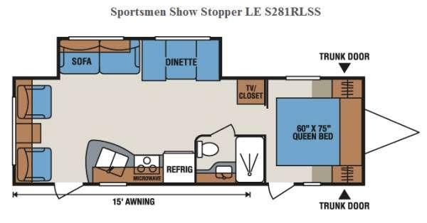 Floorplan - 2016 KZ Sportsmen Show Stopper LE S281RLSS