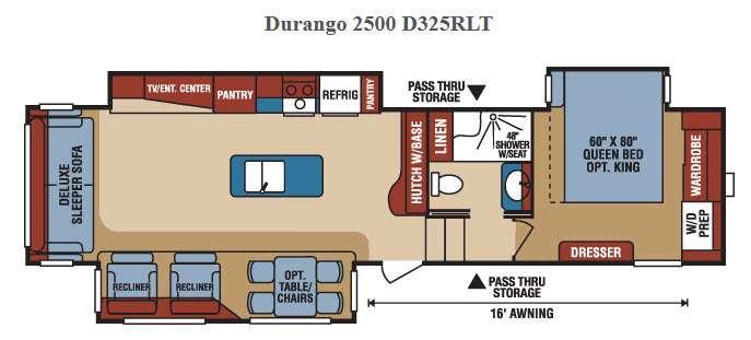 Floorplan - 2016 KZ Durango 2500 D325RLT