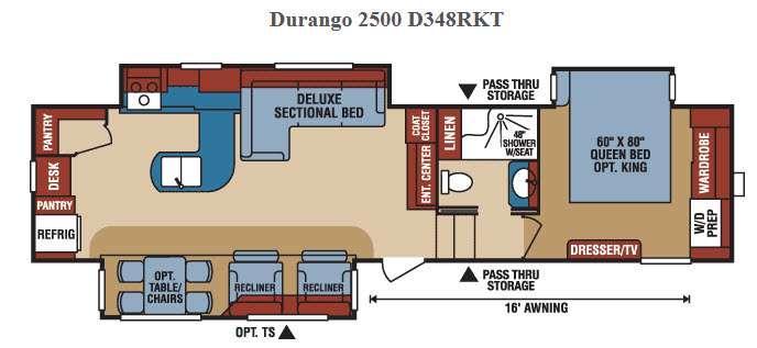 Floorplan - 2016 KZ Durango 2500 D348RKT