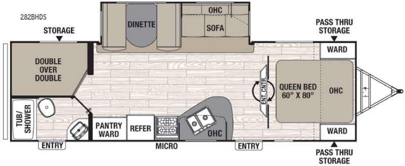 Floorplan - 2016 Coachmen RV Freedom Express 282BHDS