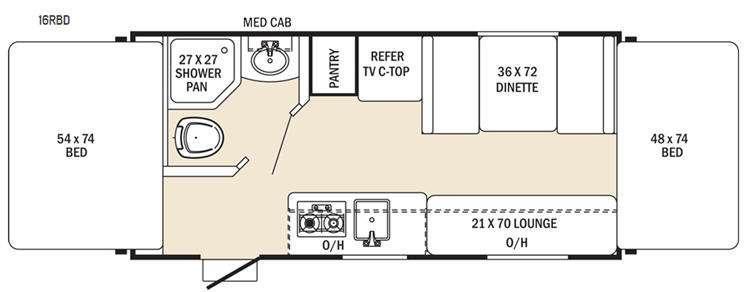 Floorplan - 2016 Coachmen RV Clipper Ultra-Lite 16RBD