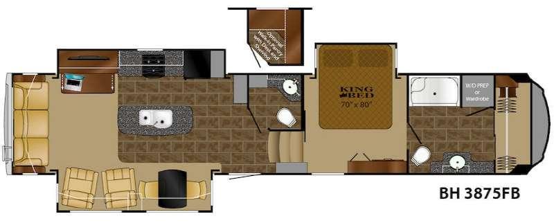 Floorplan - 2016 Bighorn 3875FB Fifth Wheel