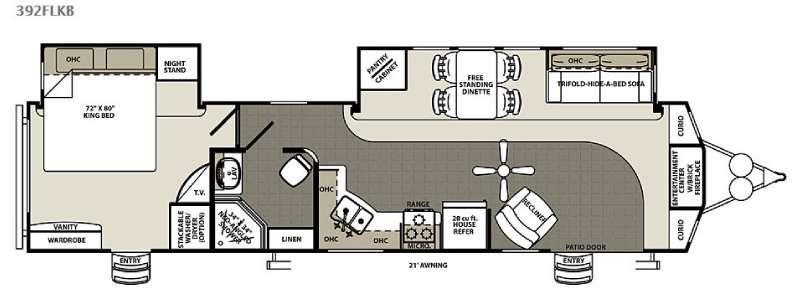Floorplan - 2016 Forest River RV Sandpiper Destination Trailers 392FLKB